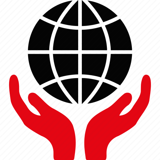 globe, hands, insurance, safety, shield, support, world icon