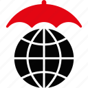 insurance, protect, protection, safety, umbrella, weather, globe
