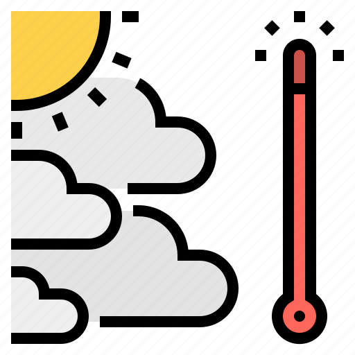 air, global, pollution, thermometer, warming icon