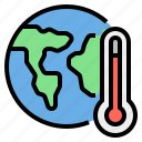 earth, global, temperature, thermometer, warming icon