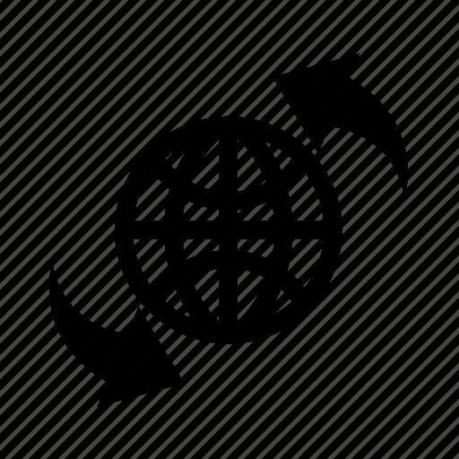 global process, globe, initializing, refresh icon