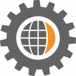 configure, gear, globe, run, setting, system, tool icon