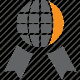 achievement, award, badge, globe, medal, prize, ribbon icon