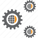 config, gears, globe, process, setting, system, tool icon