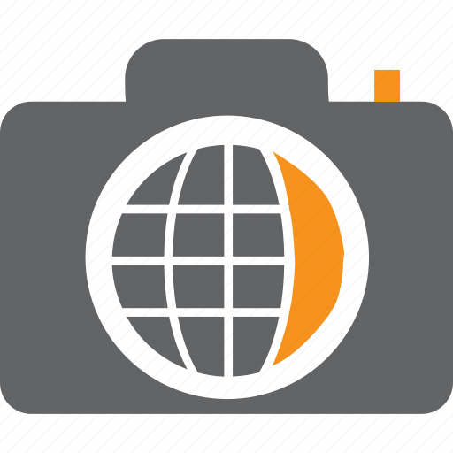 camera, flash, globe, image, lens, photo, picture icon