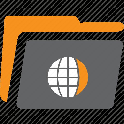archive, catalog, document, file, folder, globe, open icon