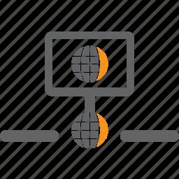 globe, hosting, lan, link, network, server, wan icon