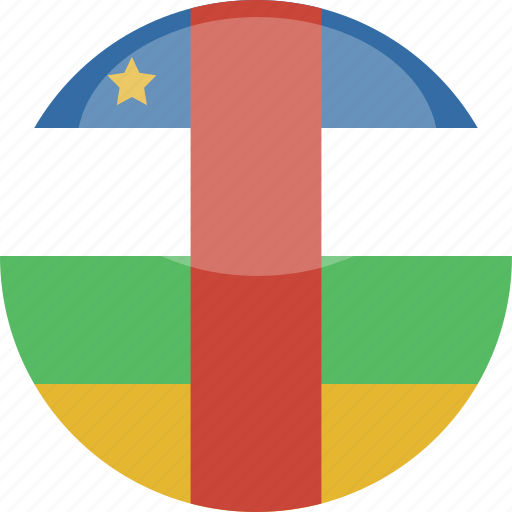african, central, circle, flag, gloss icon