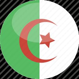 algeria, circle, flag, gloss icon