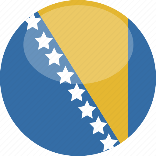 and, bosnia, circle, flag, gloss, herzegovina icon