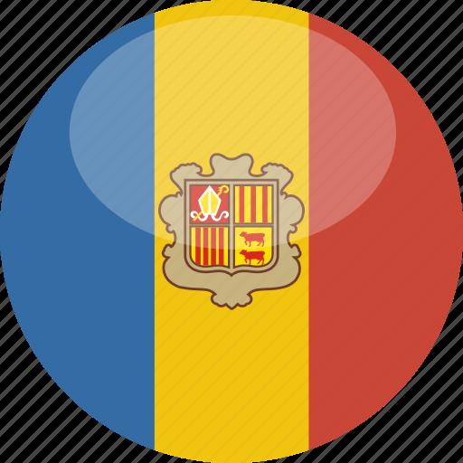 andorra, circle, flag, gloss icon