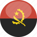 angola, circle, flag, gloss icon