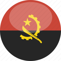 angola, circle, flag, gloss icon