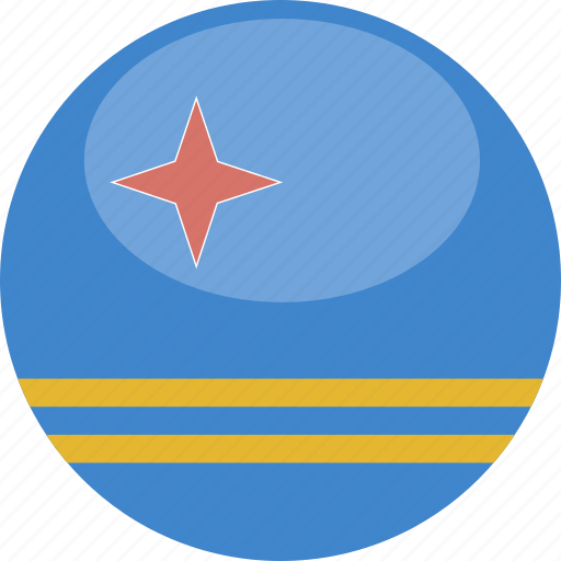 aruba, circle, flag, gloss icon