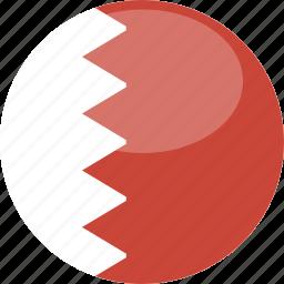 bahrain, circle, flag, gloss icon