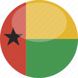bissau, circle, flag, gloss, guinea icon