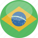 brazil, circle, flag, gloss icon
