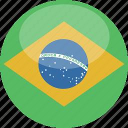 brazil, circle, flag, gloss icon