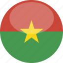 burkina, circle, faso, flag, gloss icon