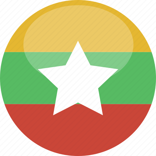 burma, circle, flag, gloss, myanmar icon