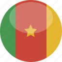 cameroon, circle, flag, gloss icon