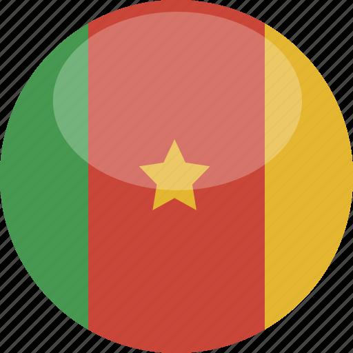 cameroon, circle, flag, gloss icon