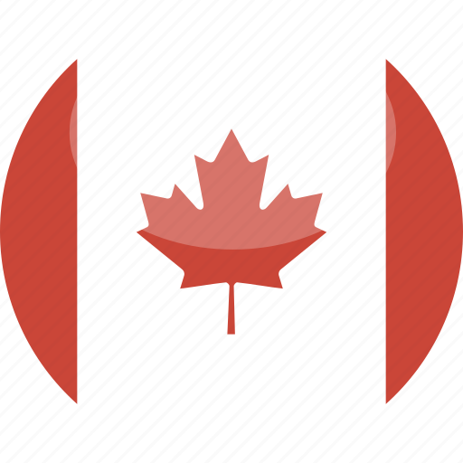 canada, circle, flag, gloss icon