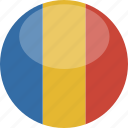 chad, circle, flag, gloss icon