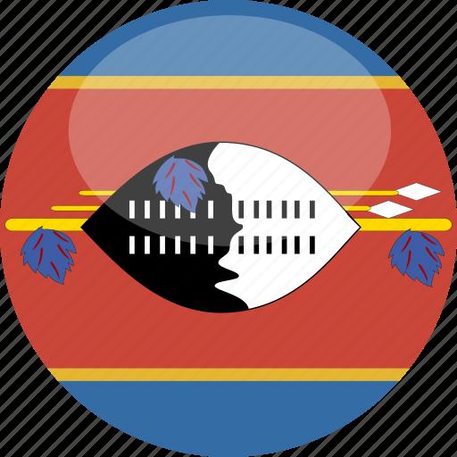 circle, cirlce, flag, gloss, swaziland icon
