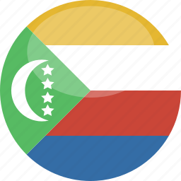 circle, comoros, flag, gloss icon