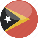 circle, east, flag, gloss, timor icon