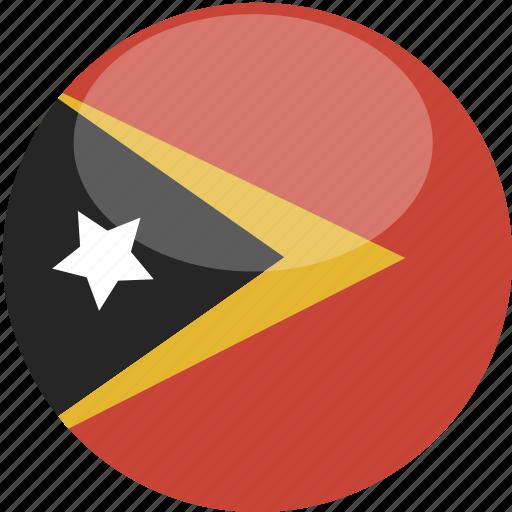circle, east, flag, gloss, timor icon