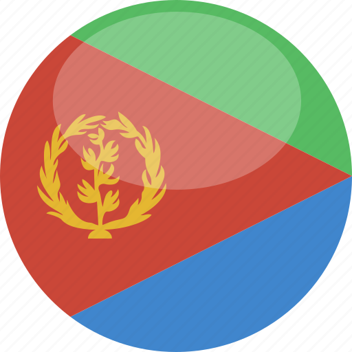circle, eritrea, flag, gloss icon
