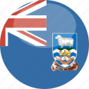 circle, falkland, flag, gloss, islands icon