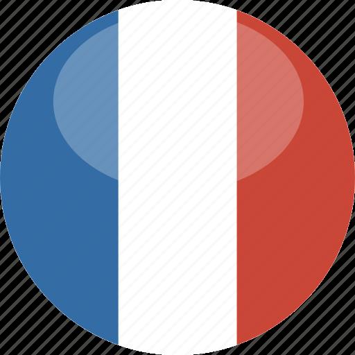 circle, flag, france, gloss icon