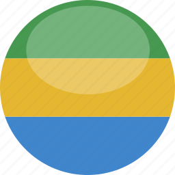 circle, flag, gabon, gabonese, gloss, republic icon