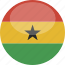 circle, flag, ghana, gloss icon