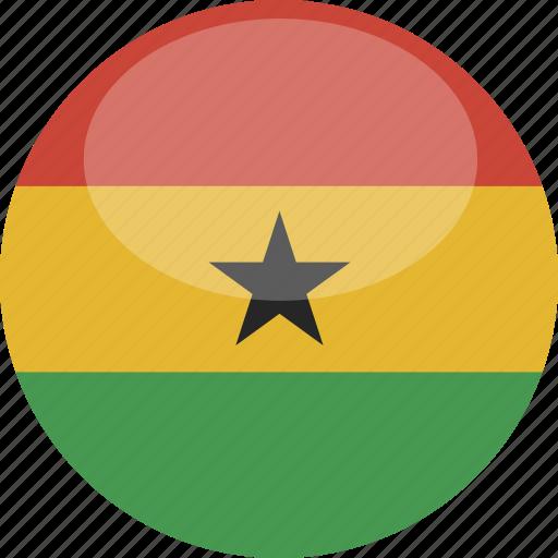 circle, flag, ghana, gloss icon