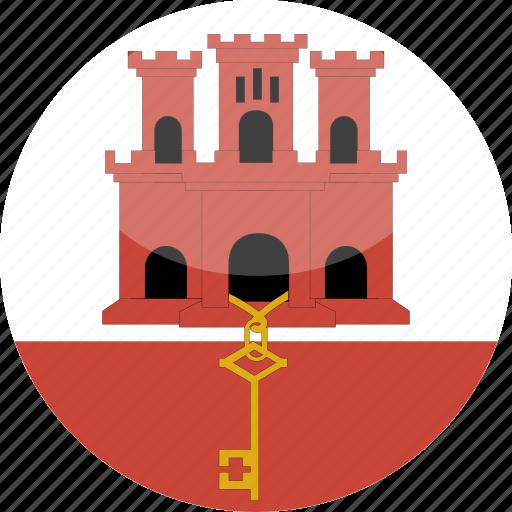 circle, flag, gibraltar, gloss icon
