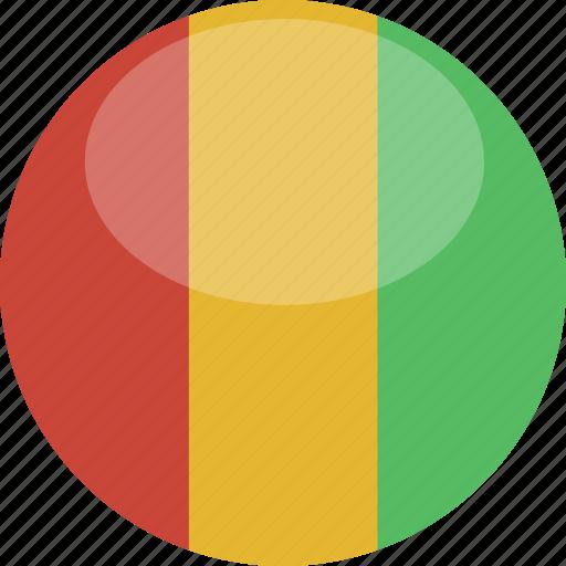 circle, flag, gloss, guinea icon