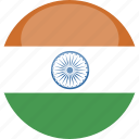 circle, flag, gloss, india icon