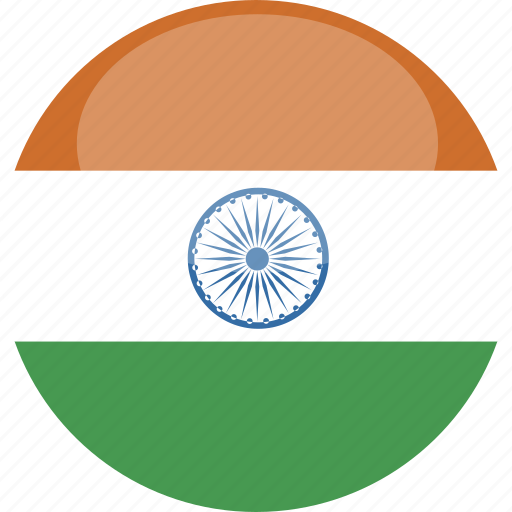 circle, flag, gloss, india icon