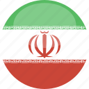 circle, flag, gloss, iran icon