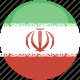 circle, flag, gloss, iran icon