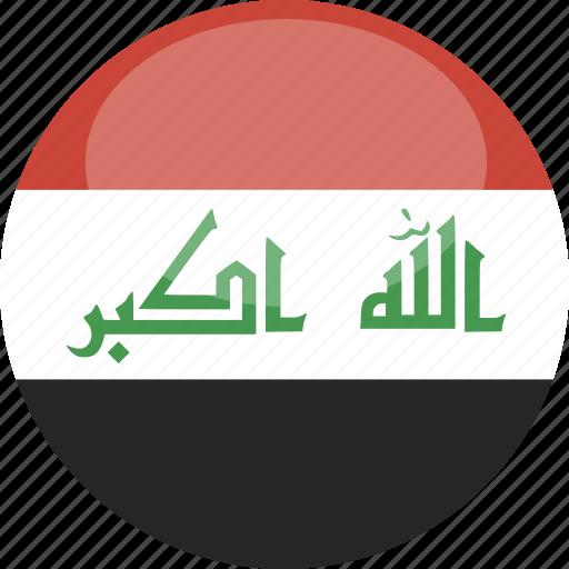 circle, flag, gloss, iraq icon
