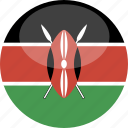 circle, flag, gloss, kenya icon