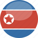 circle, flag, gloss, korea, north icon