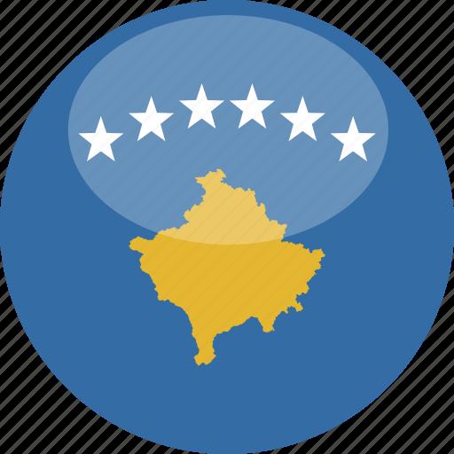 circle, flag, gloss, kosovo icon
