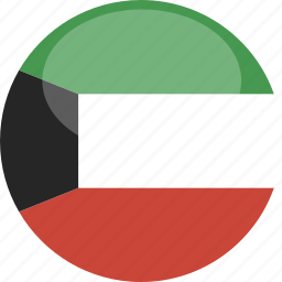 circle, flag, gloss, kuwait icon