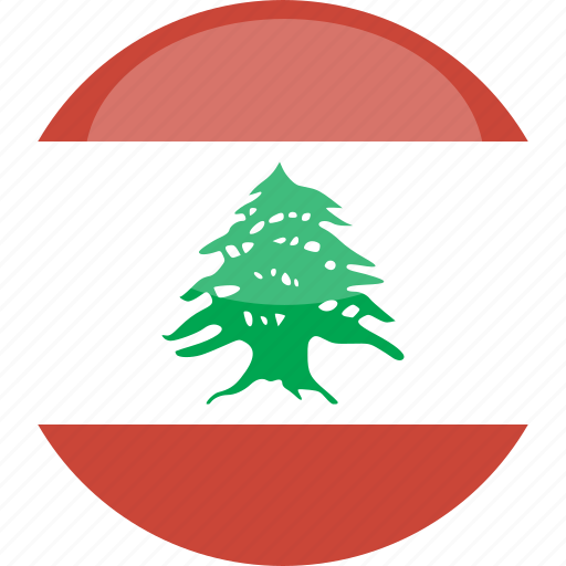 circle, flag, gloss, lebanon icon